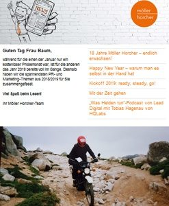 Screenshot Newsletter 1/2019 der Möller Horcher PR GmbH
