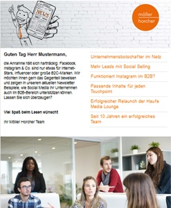 Screenshot Newsletter 4/2019 der Möller Horcher PR GmbH