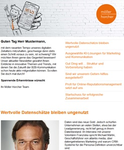 Screenshot Newsletter 5/2019 der Möller Horcher PR GmbH