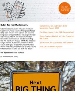 Screenshot Newsletter 1/2020 der Möller Horcher PR GmbH