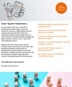 Screenshot Newsletter 2/2021 der Möller Horcher Kommunikation GmbH