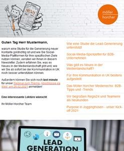 Screenshot Newsletter 1/2021 der Möller Horcher Kommunikation GmbH