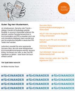 Screenshot Newsletter 3/2021 der Möller Horcher Kommunikation GmbH