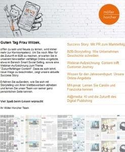 Screenshot Newsletter 4/2021 der Möller Horcher Kommunikation GmbH